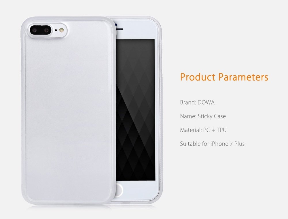DOWA Anti-Gravity Selfie Case Magical Adsorption Transparent Protective Skin for iPhone 7 Plus