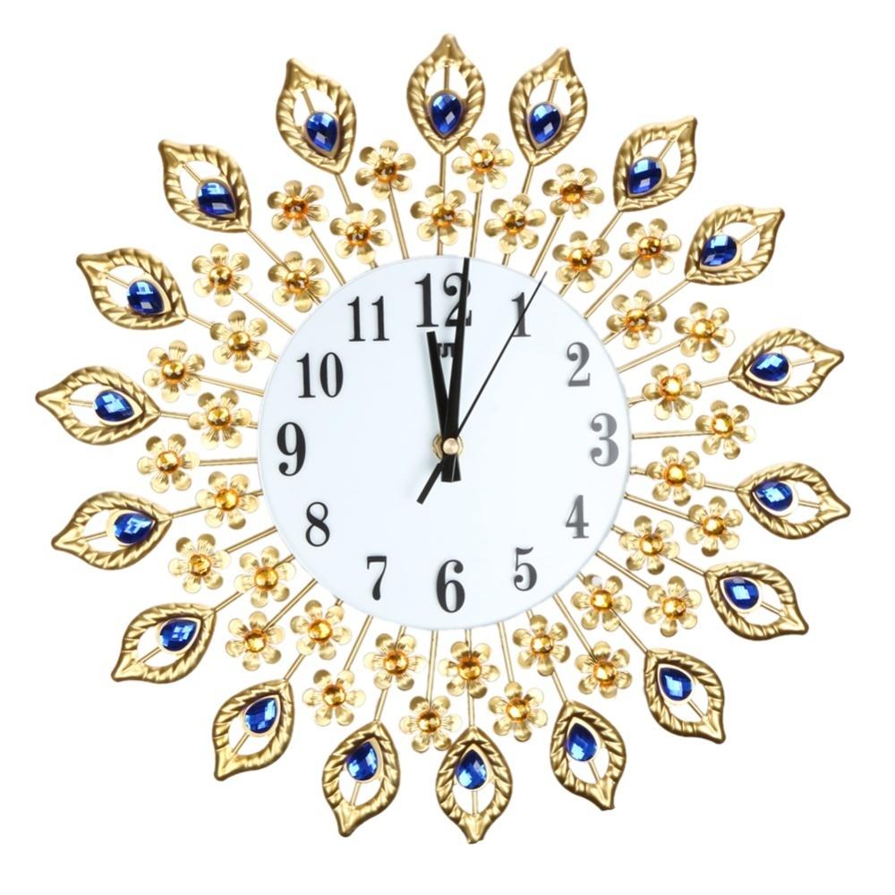 Luxury Diamond Dinding Besar Jam Logam Ruang Tamu Jam Dinding ... 94d58c11a8