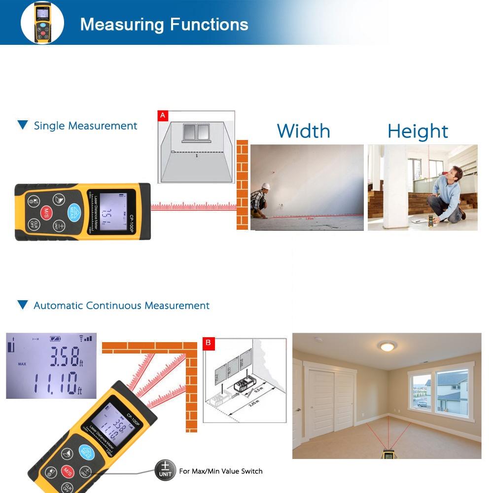 Detail produk dari 100 M Genggam Portabel Digital Pengukur Jarak Laser Presisi Tinggi Volume Daerah Pengukur Relasi Pengukuran Penyimpanan Data With Lampu ...