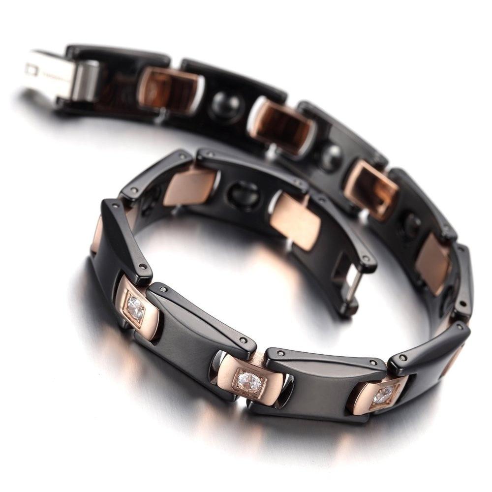 Mens Jewelry Diamond Faceted Silver Tungsten Magnetic Bracelet Best Ceramic Gelang Pria Wanita Kesehatan Health Infrared Ion Stainless Steel Titan