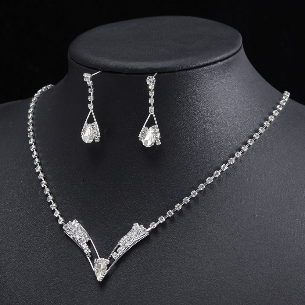 Pernikahan Pengantin Putri Kristal Pesta Kalung Berlian Imitasi Set 1 Perhiasan 485mm 191 Earrings Length Approx 36mm 14 Size Fits Most People Color As The Pictures Shown Quantity 1set Necklace Pc Pair