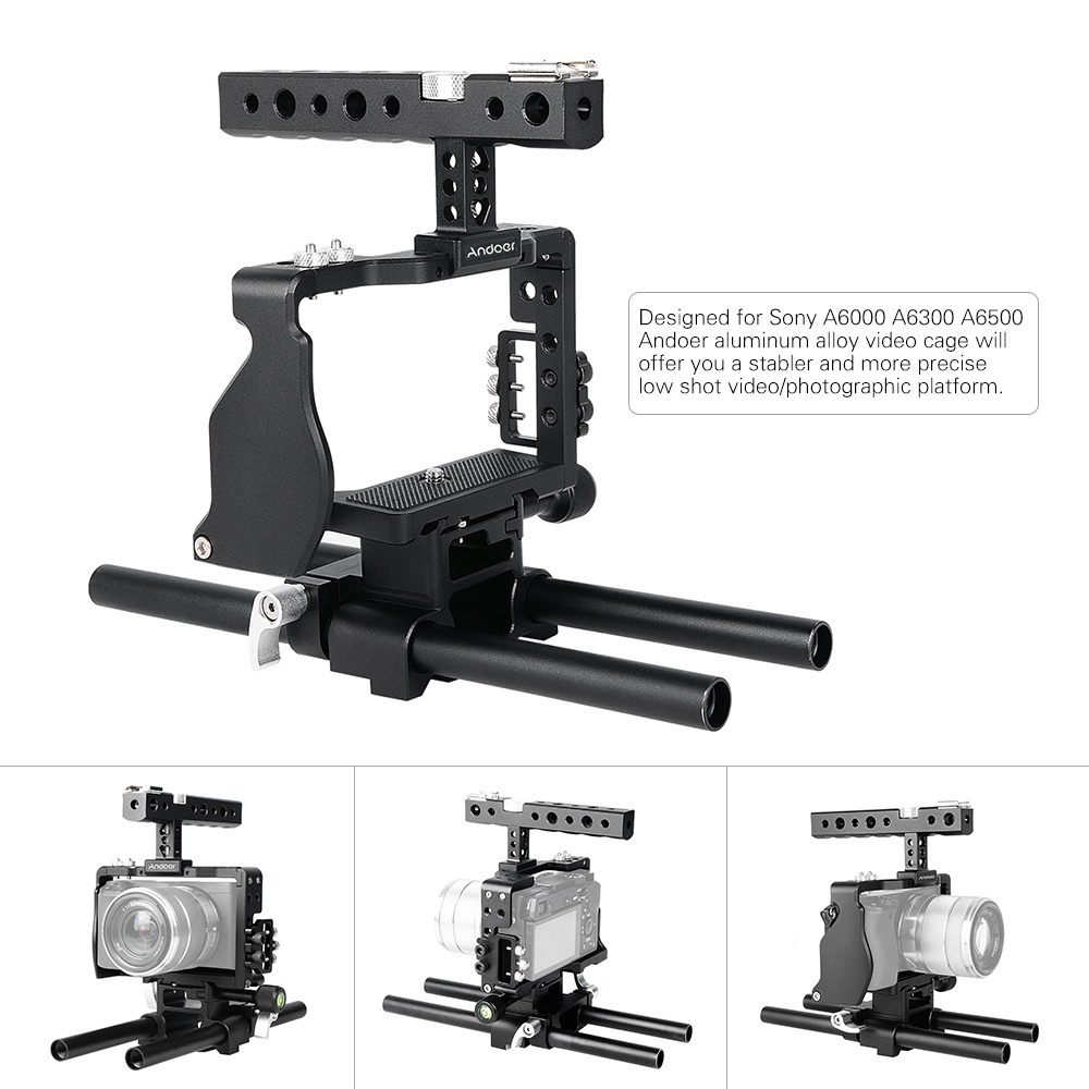 This aluminum alloy camera cage kit will provide you with a stable and precise low shot video photographic platform.