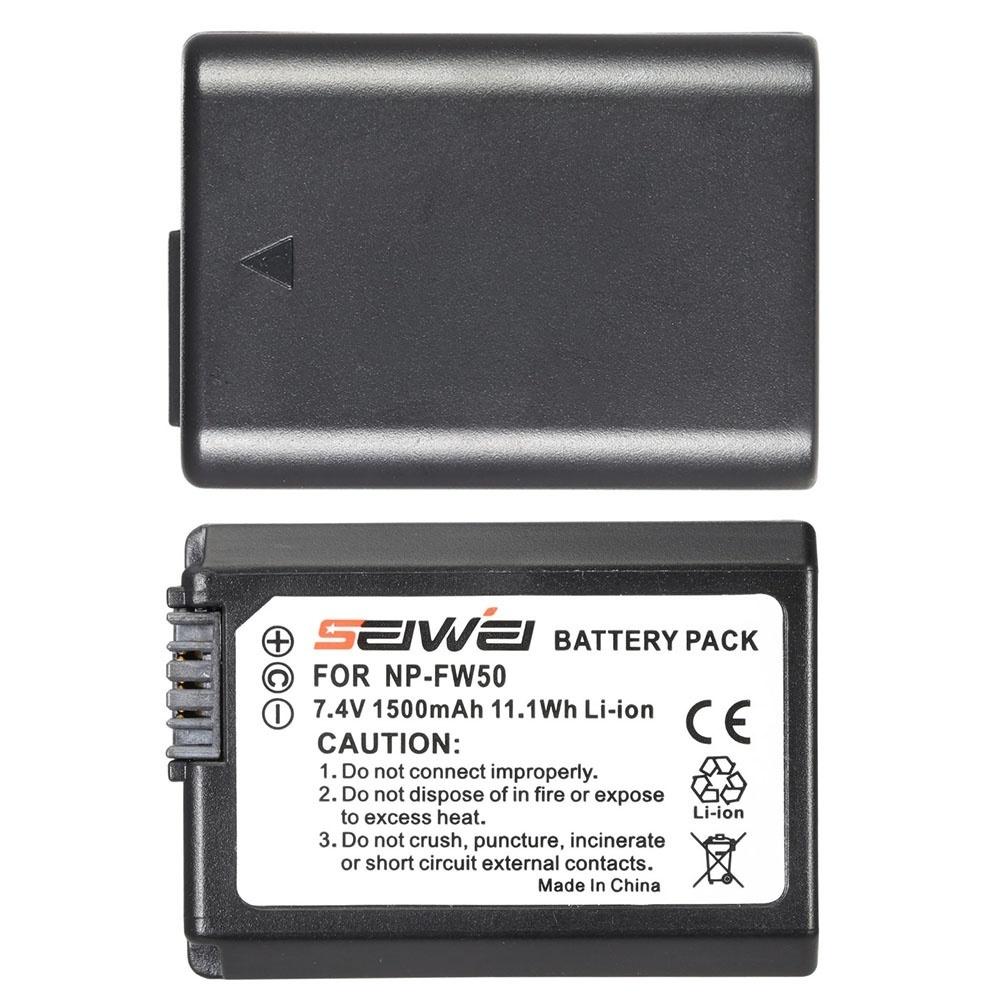 NP - FW50 2 Pack 7,4 V dengan LCD USB Charger Kit untuk Sony Alpha a7 (II) a7 R (II) a7 S (II) A3000 A5000 A5100 A6000 NEX-3 NEX-3 N NEX-5 NEX-5 N NEX-5 R NEX-5 T NEX-6 NEX-7