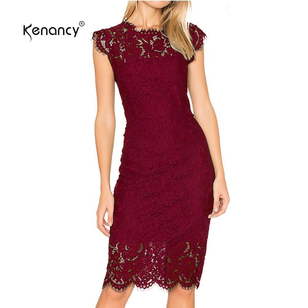 KENANCY WOMENS ELEGANT FULL FLORAL LACE FIT AND FLARE A LINE DRESS 3 4 SLEEVE COCKTAIL PARTY WEDDING WORK KNEE LENGTH DRESS INTL ✓