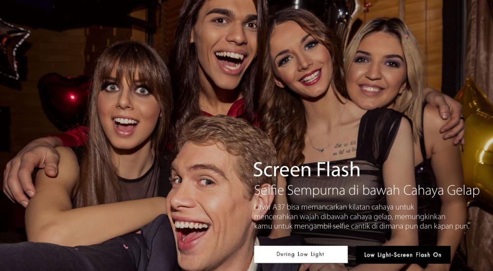 Oppo A37 Beauty Camera - 2/16GB - Gold - Kamera Depan 8MP