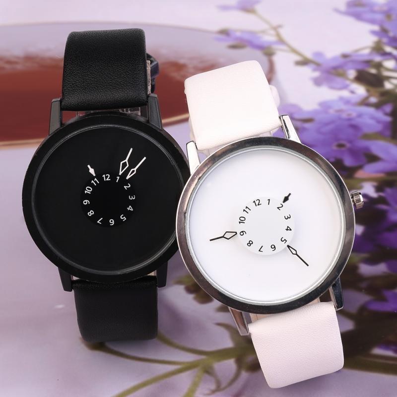 2 buah Fashion laki-laki wanita perhiasan sederhana siswa sejalankuarsa beberapa jam tangan Hitam Putih