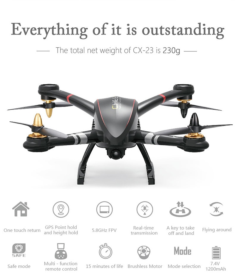 Cheerson CX-23 5.8G FPV GPS OSD Brushless RC Quadcopter With HD 720P Camera RTF - Black