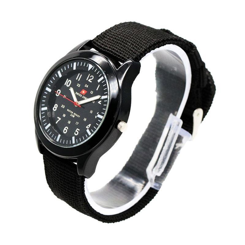 Swiss army black kanvas - jam tangan wanita - outdoor watch - bonus ikat rambut korean