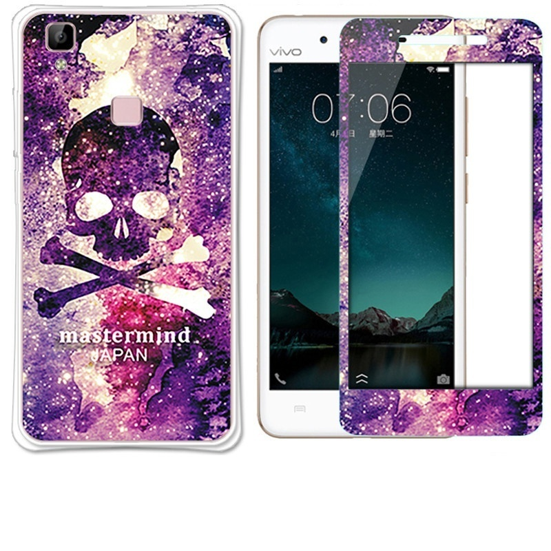 Luxury 3D Painting Front+Back Full Case Cover Color Tempered Glass Case For Vivo .