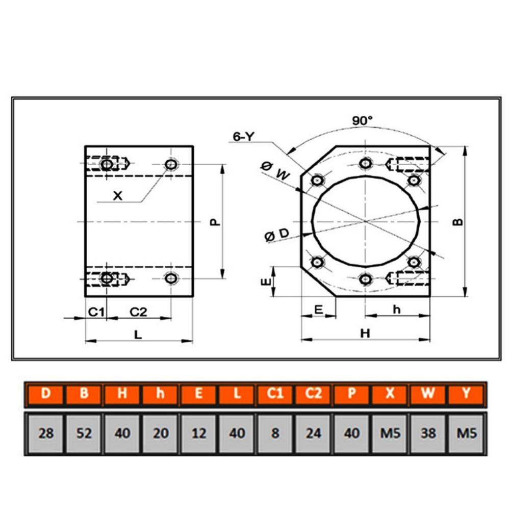 Ballscrew Nut Housing Seat Mount Bracket Holder 28mm Dia For SFU1604 1605 1610 !