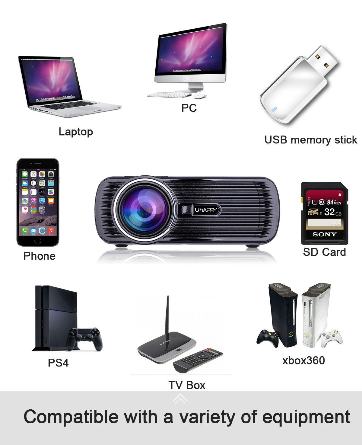 Jual Beli Mini Projector 1080p Hd Home Theater With Hdmi Usb Sd Vga Cus In224 Svga Detail Produk Av Tv Port Black Au Plug Intl