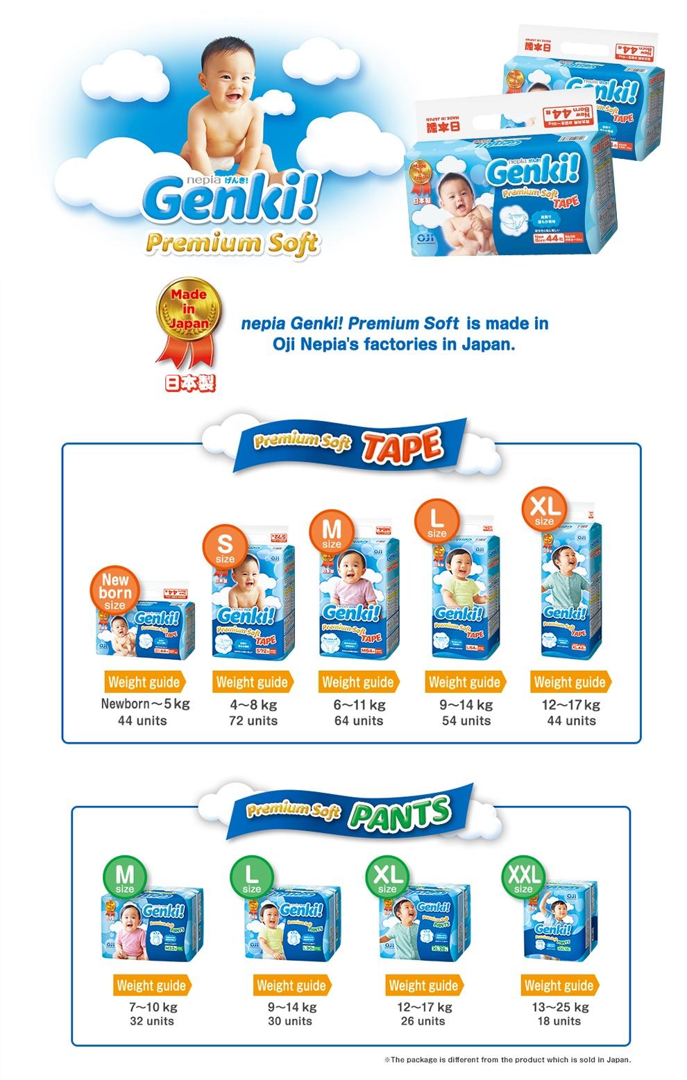 Nepia Genki Premium Baby Diapers Tape L 54 Spec Dan Daftar Harga Pants 30 S72 Soft Source